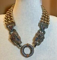 Heidi Daus WILD at HEART Triple Strand Lion Bib Necklace - MAGNIFICENT!