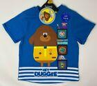 BNWT Boys Kids Blue Hey Duggee Interactive Badge Cotton Short Sleeve T-Shirt Top