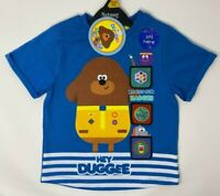 BNWT Boys Kids Blue Hey Duggee Interactive Badge Cotton Short Sleeve T-Shirt Top
