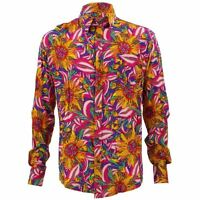 Mens Loud Shirt Retro Psychedelic Funky Party TAILORED FIT Pink Floral