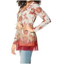 Neu Damen Bluse in Gr. 34 Rot Orange Oriental Muster blumen Tunika 669411 -464K