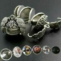 Expanding Photo Locket Necklace Silver Ball Angel Wing Pendant Memorial Gift New