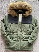 BNWT George Khaki Fleece Lined Hooded Coat - 9-10Years - RRP £20