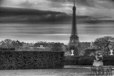 Eiffel Tower on Cloudy Day Black and White B&W Photo Art Print Poster 18x12