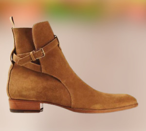 Handmade Jodhpurs Ankle Boot Men Tan Ankle High Suede Boot, leather boot for men