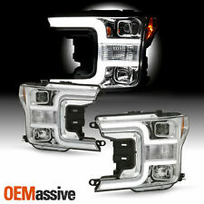 For 2018-2019 Ford F150 Pickup [Halogen Type] Projector Chrome Headlights Pair