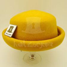 FASHION Wool Felt Women Roll Brim Top Hat Ladies Boater CASUAL | 57cm | Yellow