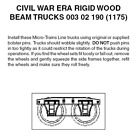 Micro-Trains 00302190 - Civil War Era Rigid Beam Truck Without Couplers (1175...