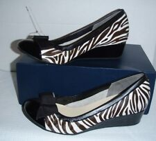 Cole Haan Tali Genuine Calf Hair Wedge zebra pattern black trim sz 9B