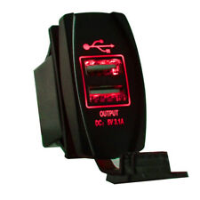 Red Dual USB Charger Voltmeter Rocker Switch For Polaris Can-Am Honda UTV Boat