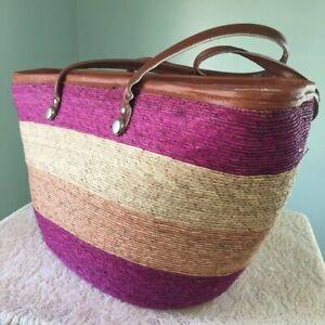 Hand Woven Boho Stripes LARGE Straw Bag Beach TOTE Festival Picnic Shopping NEW