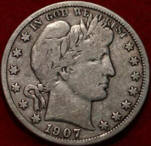 1907-D Denver Mint Silver Barber Half Dollar