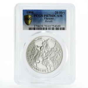 Ukraine 20 hryvnias Liberation War Khmelnitsky Horses PR70 PCGS silver coin 1998