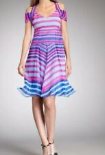 NANETTE LAPORE 'Talent Show' SILK Striped Halter Harness Dress Size 8