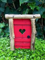 Miniature Dollhouse FAIRY GARDEN ~ Mini Rustic Helena Door Pick Red w/ Heart