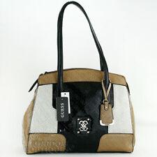 New GUESS Purse Womens Handbag Valka Satchel Bag Black Multi Logo Sac Bolso wT