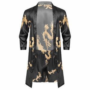 Men's Dragon Printed Satin Robe Set Silk Kimono Bathrobe with Shorts Nightgown