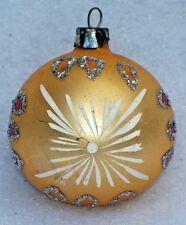 VINTAGE POLAND FEATHER TREE GOLD SATIN SILVER GLITTER CHRISTMAS ORNAMENT