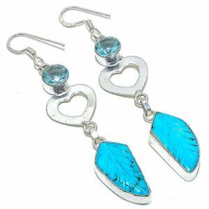 Carved Sleeping Beauty Turquoise Gemstone Silver Jewelry Earring 150 ESL1373