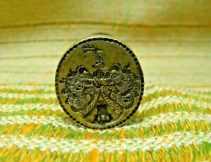 Antique 18th Century Brass & Wood Nobility Stags & Castle Sealing Wax Stamp Seal