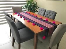 """Mexican bohemian hand woven table runner Chiapas w/ tassels 72"""" x 17"""""""