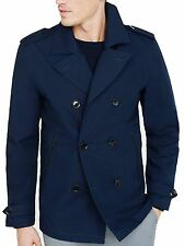 New Express Men's $198 Navy Blue Cotton Military Peacoat Jacket Trench Coat Sz M
