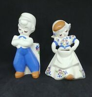 Vintage DeLee Dutch Girl and Boy Pottery Vase Planters California Hand Painted