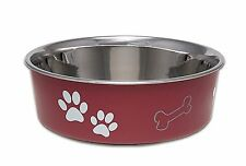 Loving Pets Bella Bowl Classic Merlot Paws & Bone Medium Dog Bowl 3 Cups 750ml