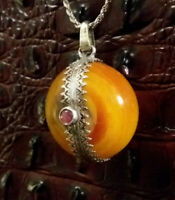 Golden Amber Pendant Necklace Old Butterscotch Large Amber Sterling Silver Rare