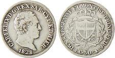 ITALIE   SARDAIGNE  CHARLES  FELIX  50  CENTESIMI  ARGENT  1828  TURIN