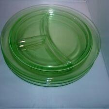 """4 Vintage Green Depression Glass Vaseline Uranium Divided Plates 10.5"""""""