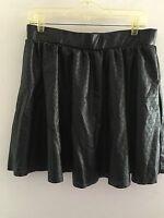 Bisou Bisou MICHELE BOHBOT Sz L Black Laser Cut Faux Leather Mini Full Skirt