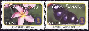 Cook Islands - 2 MNH 2011 flower stamps #1388-9 cv 9.00 Lot #265
