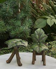 Miniature Dollhouse FAIRY GARDEN Furniture ~ Resin Green Leaf Table & Chair Set