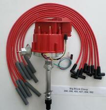 BIG BLOCK CHEVY RED Super Cap HEI Distributor & SPARK PLUG WIRES STRAIGHT BOOTS