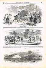 1850 Sketches En Route Cherbourg Horses Carriages Ladies Bonnets
