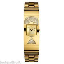 NEW GUESS GOLD TONE & CRYSTALS LOGO GLITZ BANGLE WATCH-U12617L1