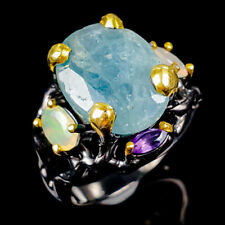 Handmade14x11mm Natural Aquamarine 925 Sterling Silver Ring Size 8.75/R121329