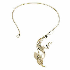 Art Nouveau Design Sterling Silver Leaves and Vines Choker Necklace