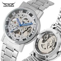 WINNER Skeleton Automatic Mechanical Watch Men Stainless Wristwatch Round Dial