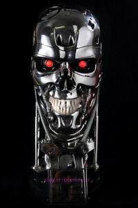 Perfect Terminator Arnold T2 T800 Endoskeleton Skull Resin Statue Bust Led Stock