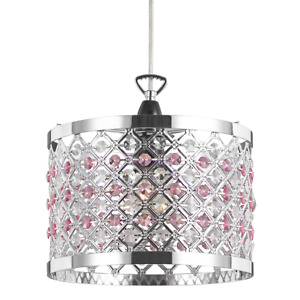 Modern Sparkly Ceiling Pendant Light Shade with Clear and Pink Beads by Happy...