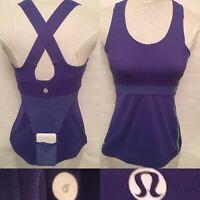 Lululemon Woman Size 6 Purple Tank Top CrossBack Mesh Back Pocket Run Yoga