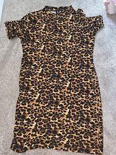 New Look Pink Vanilla Dress Size 14 Leopard Print