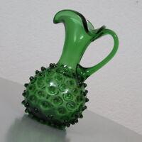 edle Murano Bubble Glas Tisch Vase Henkel Kanne Krug Grün Vintage Retro 60er J.
