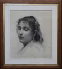 FRENCH OLD MASTER FEMALE PORTRAIT  PAINTING ART VICTORIAN REALIST 1889 SUNNING