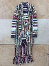 Free People Bohemian Gypsy Chic Crochet Knit Fringe Maxi Cardigan Long Sweater L