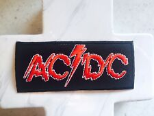 AC DC Red black Rectangle Lightning Rock Music Embroidered Iron On Patches Patch