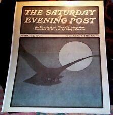Saturday Evening Post Cover Reprint Halloween 1907 Owl Flying Full Moon