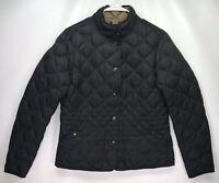 Womens MEDIUM Eddie Bauer Navy Blue/Bla Down Coat Quilted Snap Jacket 550 Fill